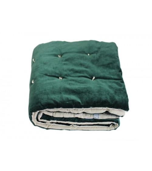 boutis en velours matelasse vert cypres 90 x 200 cm. Black Bedroom Furniture Sets. Home Design Ideas