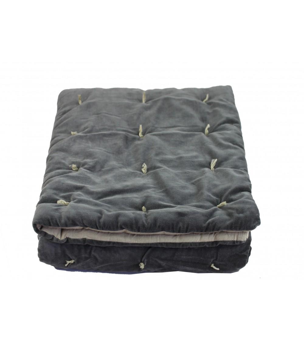 boutis en velours matelasse anthracite 90 x 200 cm. Black Bedroom Furniture Sets. Home Design Ideas