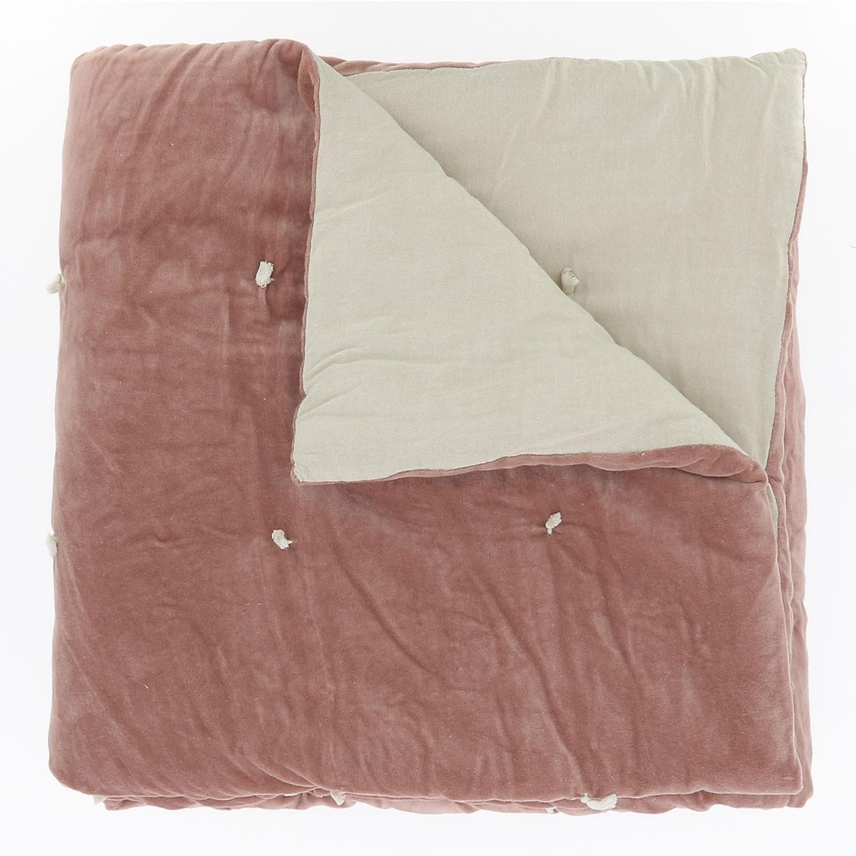 BOUTIS EN VELOURS MATELASSE ROSE POUDRE 90 x 200 cm